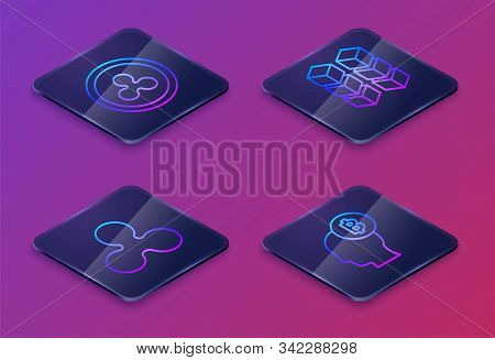 Set Isometric Line Cryptocurrency Coin Ripple Xrp, Cryptocurrency Coin Ripple Xrp, Blockchain Techno