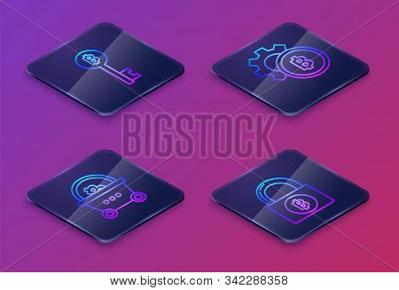 Set Isometric Line Cryptocurrency Bitcoin Key, Shopping Basket With Bitcoin, Cryptocurrency Coin Bit