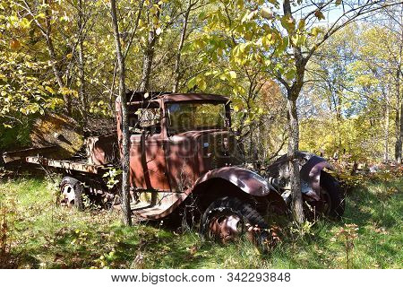 The Rusty Remains Of A  Very Old Truck Are Left On The Woods, Partially Covered By Brush And Trees.