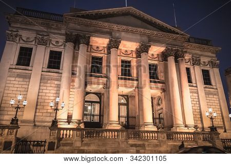 Dublin, Ireland - February 11, 2019: Architectural Detail Of The City Hall (rotunda Hall) A Night On