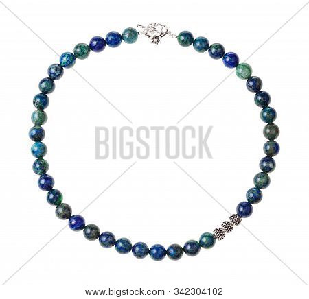 Top View Of Hand Crafted Necklace From Polished Azurite Beads Isolated On White Background