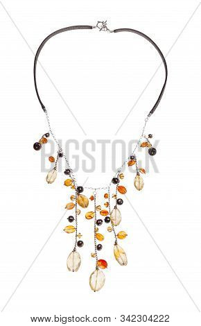 Hand Crafted Necklace Decorated By Chains With Natural Citrine And Cornelian Gemstonesa And Pearls R