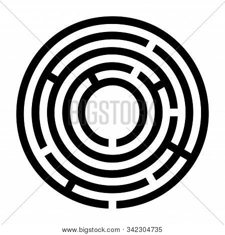 Tiny Black Circular Maze. Radial Labyrinth. Find A Route To The Centre. Print Out And Follow The Pat
