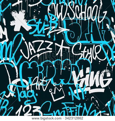 Vector Graffiti Seamless Pattern In Blue And White Color Isolated On Dark Background. Abstract Graff