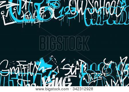 Graffiti Tags Border Isolated On Transparent Background. Abstract Street Art Decoration. Graffiti Ha