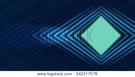 Abstract Background With Biscay Green Diamond. Classic Blue Diamond-shaped Rings Around Like Tunnel.