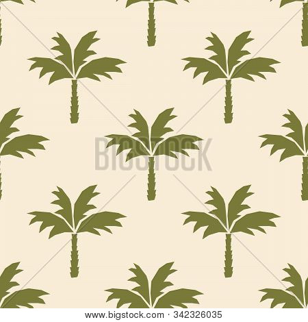 Coconut Palm Tree Silhouettes. Botanical Vector Seamless Pattern . Hand-drawn Background For Fabric,