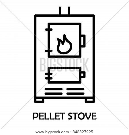 Pellet Stove. Fireplace House Heating. The Furnace Turned On With Fire Inside. Vector Line Icon, Lin