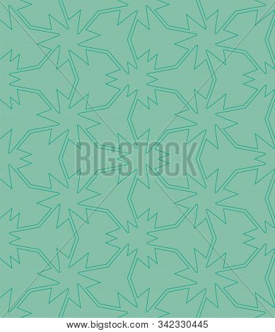 An Abstract Tessellation Seamless Vector Pattern In Jade Green Color. Decorative Unise Surface Print