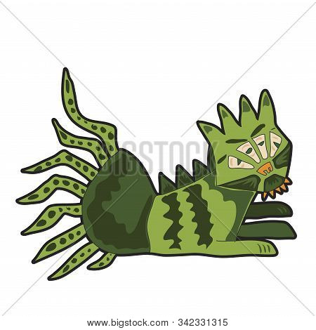 Angry Cartoon Green Monster. Cute Illustration For Prints On Baby Clothes.