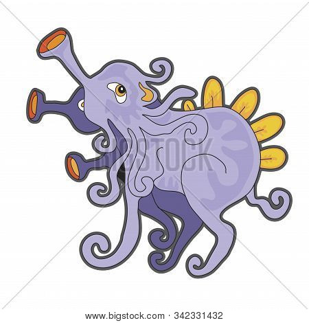 Cute Cartoon Lavender Monster. Vector Illustration With Simple Gradients. Character And Shadow On Se