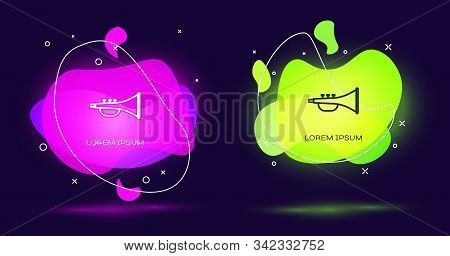 Line Musical Instrument Trumpet Icon Isolated On Black Background. Abstract Banner With Liquid Shape