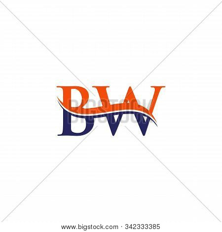 Bw Letter Logo Design Vector With Blue And Grey Colors. Bw Logo Design.