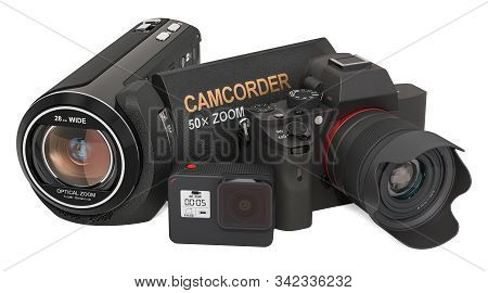 Digital Camera, Camcorder And Action Camera. 3d Rendering Isolated On White Background