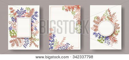 Cute Herb Twigs, Tree Branches, Leaves Floral Invitation Cards Templates. Herbal Corners Natural Inv