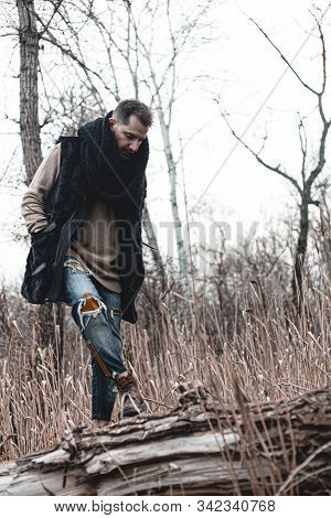 Guy Hiking In Comfortable Hiking Boots. Boots Close-up Stock Photo.