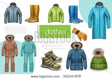Winter And Autumn Male Clothes Composition With Jacket Sneakers Rubber Boots Hat Coat Glove In Reali