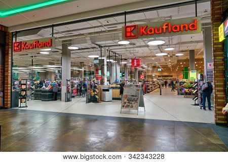 BERLIN, GERMANY - CIRCA SEPTEMBER, 2019: entrance to Kaufland in Berlin. Kaufland is a German hypermarket chain, part of the Schwarz Gruppe which also owns Lidl and Handelshof.