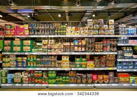 BERLIN, GERMANY - CIRCA SEPTEMBER, 2019: interior shot of Penny supermarket in Berlin.
