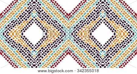 Scarlet Drawn Shibori. Maroon Batik Vector Seamless Pattern. Japanese Chevron Stripe Design. Cobalt
