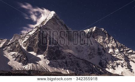 Ama Dablam Under Stars, Is Mountain In Himalaya Range Of Eastern Nepal, 6, 812m