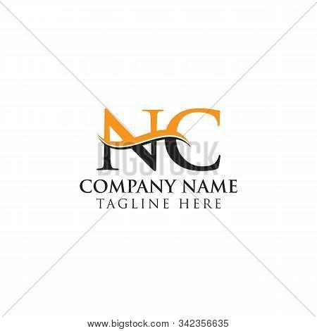 Swoosh Letter Nc Logo Design Vector Template. Nc Letter Logo Design.