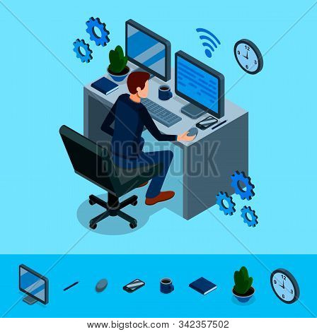Isometric Programming Concept. Programmer Is Working At His Work Place, Around Him Are Abstract Icon