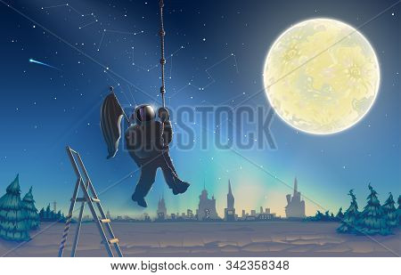Astronaut On Space Background Landscape, Cosmonaut Over Starry Sky, Milky Way With Stars And Moon In