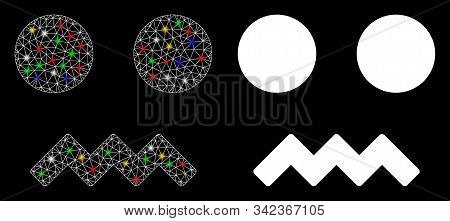Glossy Mesh Fright Smiley Icon With Glitter Effect. Abstract Illuminated Model Of Fright Smiley. Shi