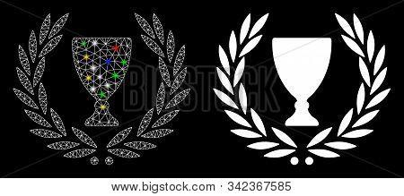 Glossy Mesh Glory Wreath Icon With Glare Effect. Abstract Illuminated Model Of Glory Wreath. Shiny W