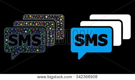 Flare Mesh Sms Queue Icon With Glow Effect. Abstract Illuminated Model Of Sms Queue. Shiny Wire Fram