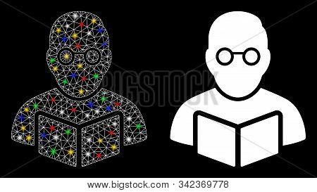 Glossy Mesh Teacher Icon With Glow Effect. Abstract Illuminated Model Of Teacher. Shiny Wire Carcass