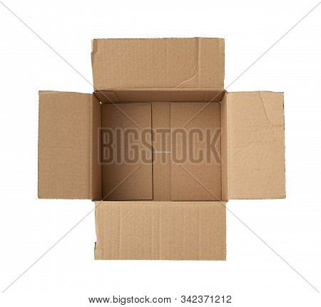 Open Empty Square Brown Cardboard Box For Transportation And Packaging Of Goods Isolated On White Ba