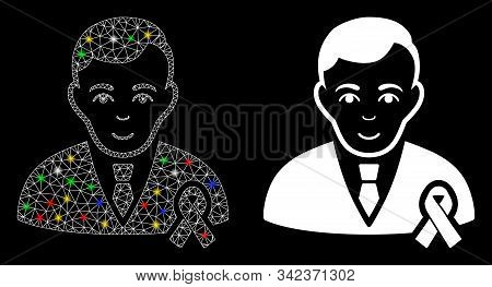Glossy Mesh Gentleman With Mourning Ribbon Icon With Glow Effect. Abstract Illuminated Model Of Gent
