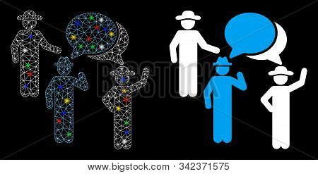Glossy Mesh Gentlemen Discussion Icon With Glare Effect. Abstract Illuminated Model Of Gentlemen Dis