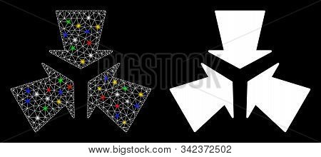 Glossy Mesh Shrink Arrows Icon With Lightspot Effect. Abstract Illuminated Model Of Shrink Arrows. S