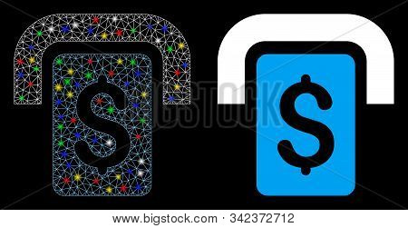 Glossy Mesh Cashpoint Icon With Glare Effect. Abstract Illuminated Model Of Cashpoint. Shiny Wire Ca