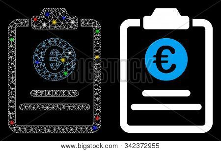 Glossy Mesh Euro Prices Pad Icon With Lightspot Effect. Abstract Illuminated Model Of Euro Prices Pa