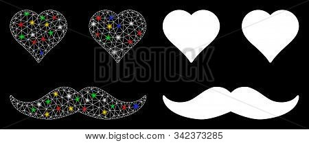 Glossy Mesh Lover Smiley Icon With Glare Effect. Abstract Illuminated Model Of Lover Smiley. Shiny W
