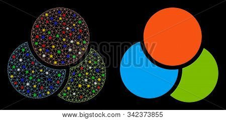 Glossy Mesh Rgb Color Circles Icon With Lightspot Effect. Abstract Illuminated Model Of Rgb Color Ci