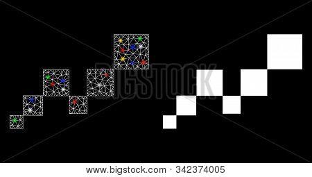Bright Mesh Square Blockchain Icon With Glitter Effect. Abstract Illuminated Model Of Square Blockch