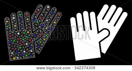 Flare Mesh Rubber Gloves Icon With Sparkle Effect. Abstract Illuminated Model Of Rubber Gloves. Shin