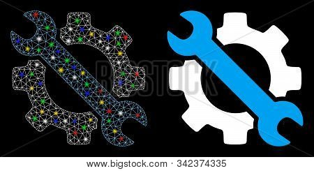 Glowing Mesh Wrench And Gear Setup Tools Icon With Lightspot Effect. Abstract Illuminated Model Of W