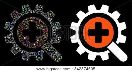 Bright Mesh Find Medical Technology Icon With Lightspot Effect. Abstract Illuminated Model Of Find M
