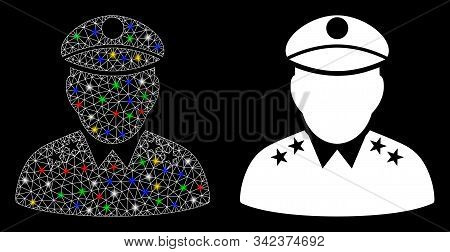 Glossy Mesh Army General Icon With Sparkle Effect. Abstract Illuminated Model Of Army General. Shiny