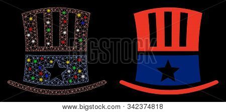 Flare Mesh Uncle Sam Hat Icon With Sparkle Effect. Abstract Illuminated Model Of Uncle Sam Hat. Shin