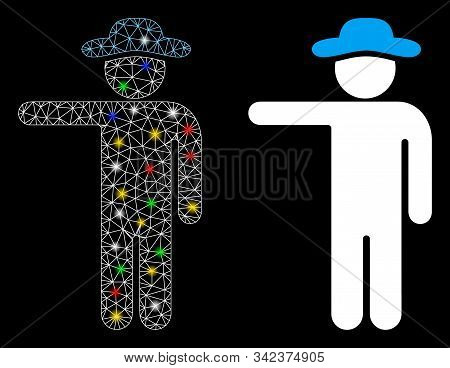 Flare Mesh Gentleman Show Icon With Glow Effect. Abstract Illuminated Model Of Gentleman Show. Shiny