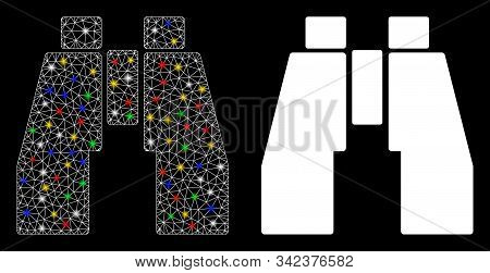 Glossy Mesh Binoculars Icon With Glitter Effect. Abstract Illuminated Model Of Binoculars. Shiny Wir
