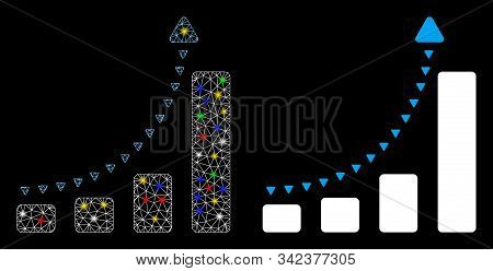 Glossy Mesh Bar Chart Positive Trend Icon With Lightspot Effect. Abstract Illuminated Model Of Bar C