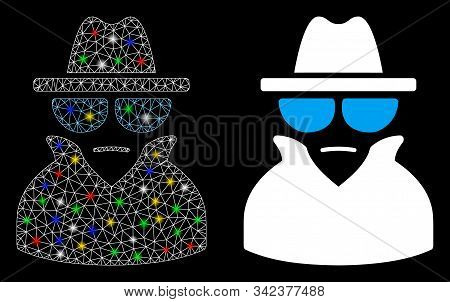 Glowing Mesh Spy Icon With Sparkle Effect. Abstract Illuminated Model Of Spy. Shiny Wire Carcass Tri